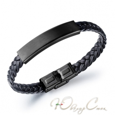 """Черный плетеный кожаный браслет """"Антарес"""""""