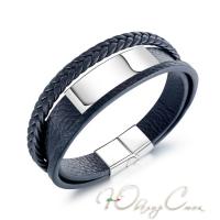 """Черный многослойный кожаный браслет с магнитной застежкой """"Марсель"""" (19.5 см и 21.5 см в наличии)"""
