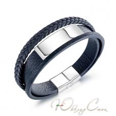 """Черный многослойный кожаный браслет с магнитной застежкой """"Марсель"""" (21.5 см в наличии)"""