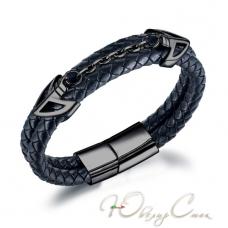 """Черный кожаный браслет с магнитной застежкой и цепью """"Никсон"""" (19.5 см и 21.5 см в наличии)"""