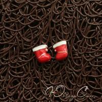"""Пуссеты с эмалью """"Christmas sock"""""""
