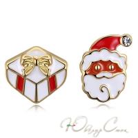 """Асимметричные сережки с эмалью """"Gift from Santa"""""""