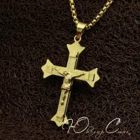 """Крупный позолоченный крестик с распятием """"Православие"""""""